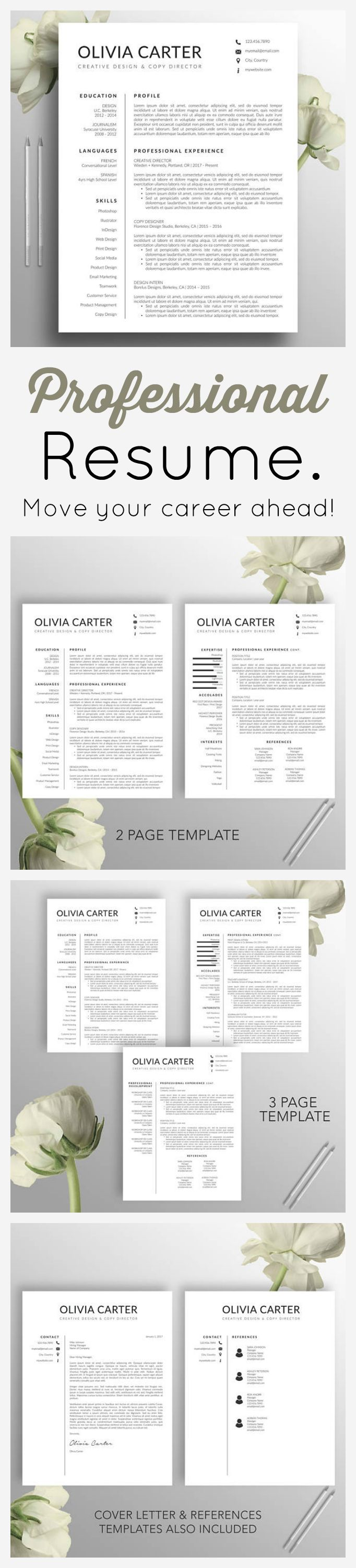 THIS resume is stylish and professional - perfect for the career minded applicant. Modern Resume #Template, Cover Letter, Word, Mac, US Letter, A4, #CV Template, Creative Resume, Professional #Resume, Instant Download, Olivia #ad