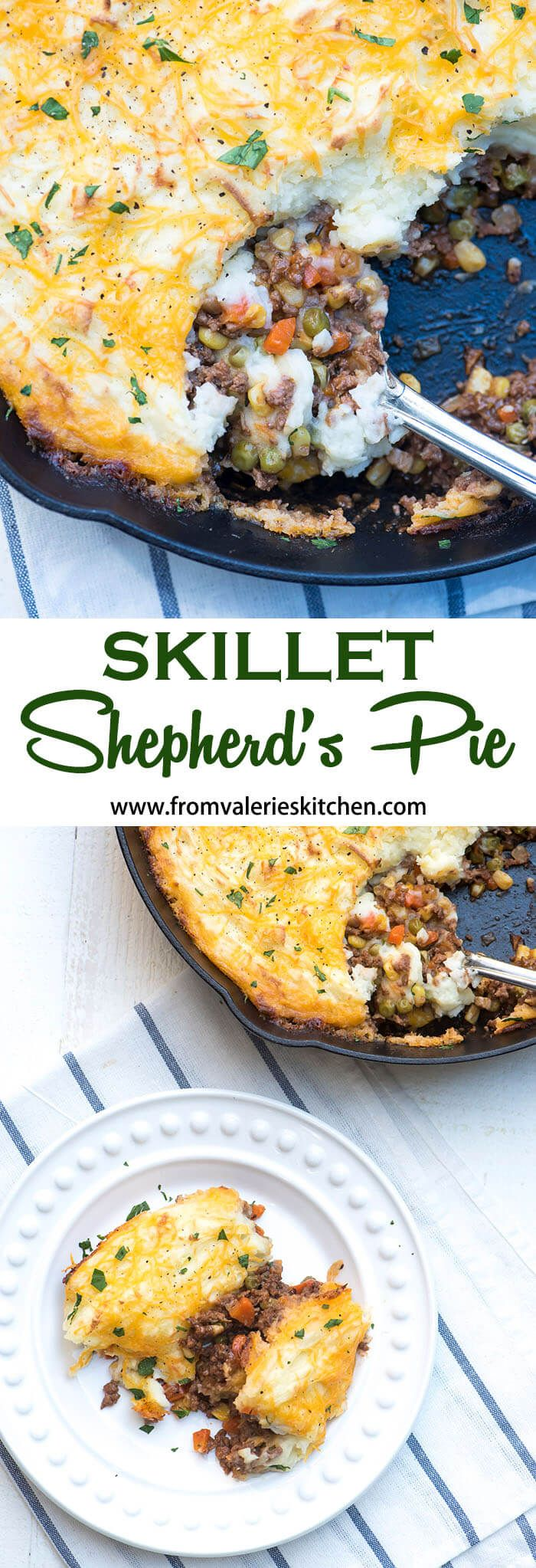A delicious mixture of seasoned ground beef and vegetables is topped with a layer of mashed potatoes, sprinkled with cheddar cheese, and baked until golden brown. This Skillet Shepherd's Pie is a quick and easy version of the classic dish.