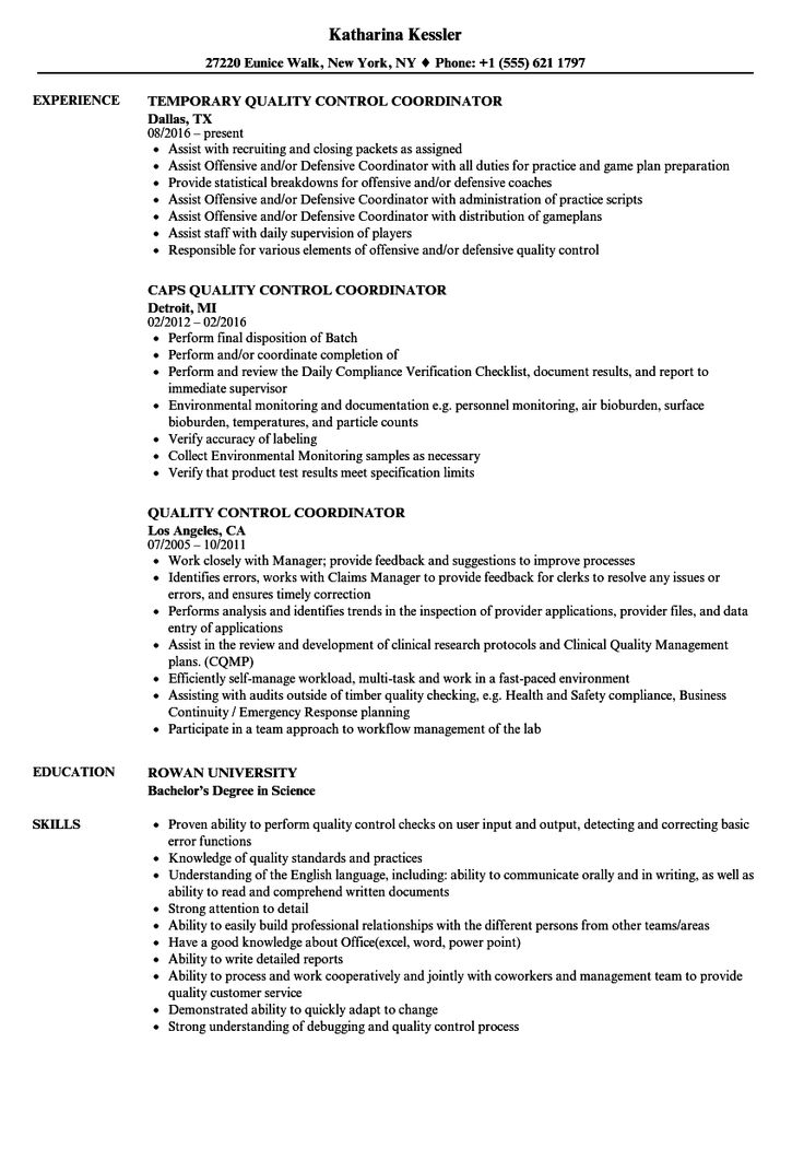 Quality Control Resume In Word Format Check more at http