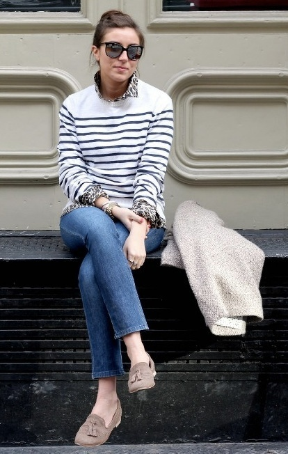 loafers, stripes, denim #traveloutfit. From bourbonandpearls.tumblr.com