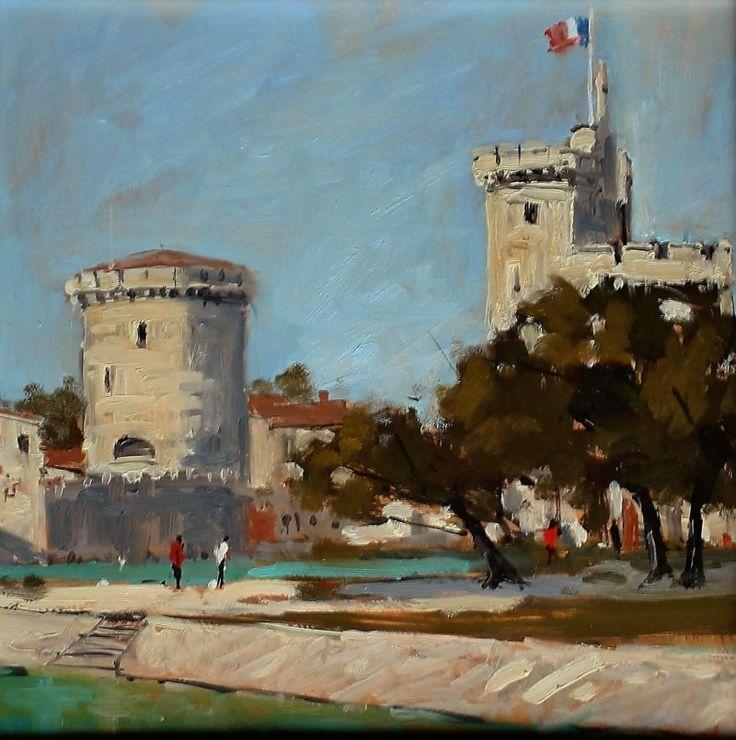 """La Rochelle Harbour, 14 x 14"""" Oil -"""
