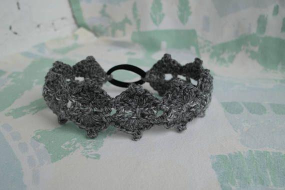 Pixie headband Grey crochet headband Elf headband Boho
