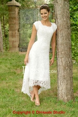 Tea length white bridal gown in charming lace with for Wedding dresses asymmetrical hemline