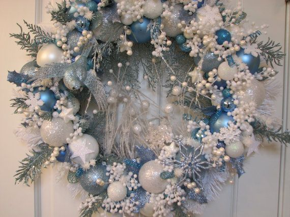 Ice Blue and White Christmas Wreath, Ornament Wreath ...