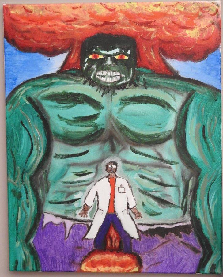 The Incredible Hulk, oil, 16x20