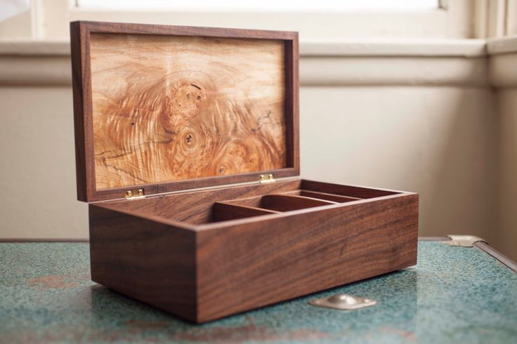 Handmade Walnut & Maple Jewelry Box by WhistlePigWoodworks on Etsy https://www.etsy.com/listing/231640938/handmade-walnut-maple-jewelry-box