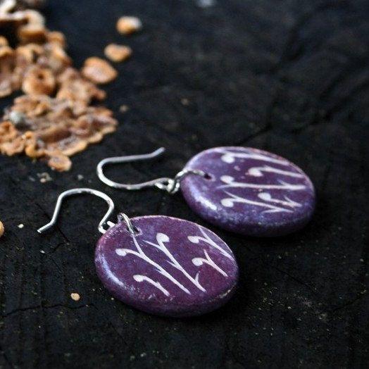 Ceramic jewelry earrings - floral motif, purple ceramic by Brekszer on Etsy