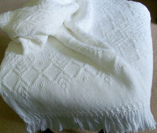 White on White Swedish Weave baby blanket. Sandra's Stitches