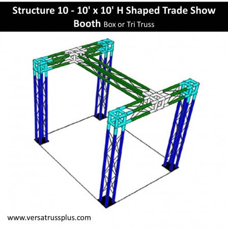 10 x 10 h shaped trade show booth kits. Our 10 x 10 h shaped exhibit kit comes with all of the truss components and hardware to erect a complete 10 x 10 h shaped display booth. Our lightweight aluminum truss 10 x 10 h shaped booth kit is economical to purchase, designed for longevity and is completely modular in design allowing you to increase the size of your 10 x 10 h shaped exhibit kit at any time.