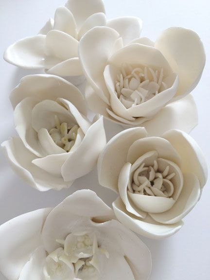 syra gomez  for wall or table     white porcelain flowers