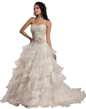 GEORGE BRIDE Romantic Ball Gown Strapless Sweetheart Layers Organza Wedding Dress  GEORGE BRIDE
