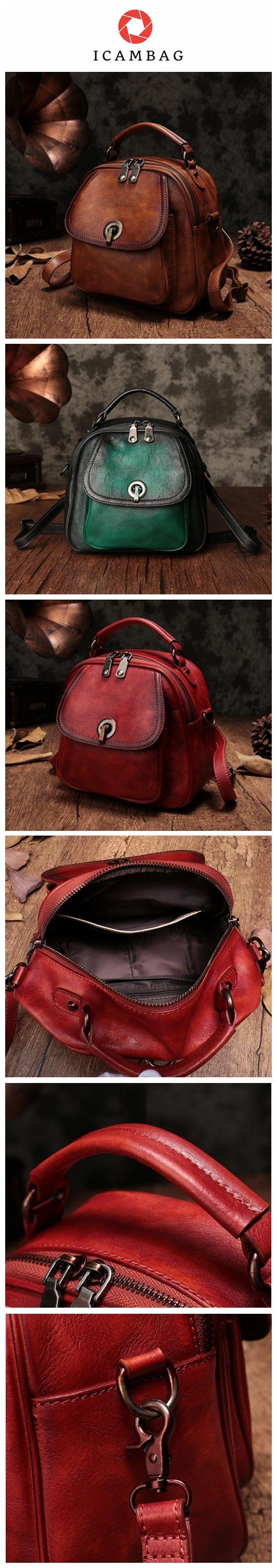 Handmade Genuine Leather Backpacks For Women,Small Lovely Bags 1021