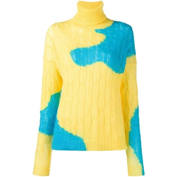 Delpozo bicolour cable knit sweater ($400) ❤ liked on Polyvore featuring tops, sweaters, cable knit sweater, beige cable knit sweater, beige sweater, chunky cable knit sweater and cable-knit sweater