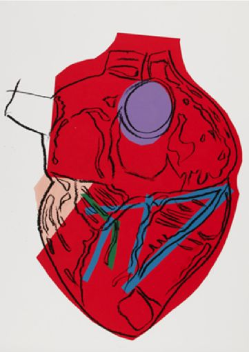 By Andy Warhol (1928-1987), ca 1982, Heart, silkscreen inks, acetate and colored paper collage.