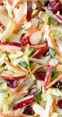 Thanksgiving side dish idea: apple, cranberry, and almond cole slaw