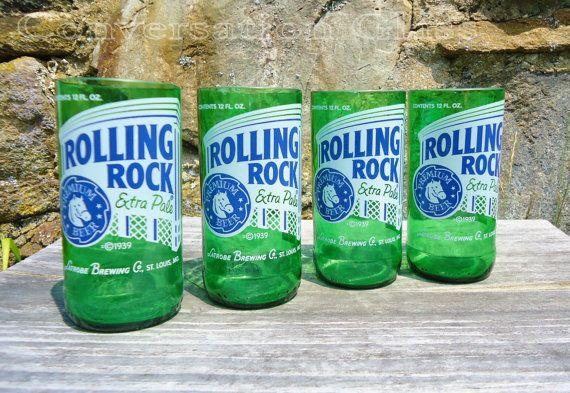 Rolling Rock Beer Bottle Glasses. Need more than 4? Just ask! #RollingRock #beer #ConvoGlass