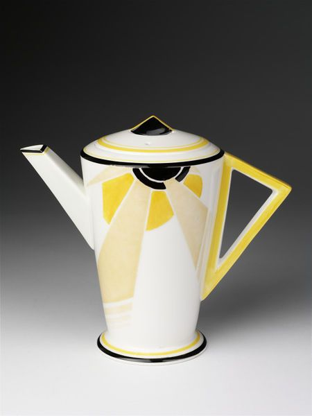 Coffee pot, bone china, 'Vogue' shape, 'Sunray' pattern, designed by Eric Slater, manufactured by Shelley, Fenton, Staffordshire, England, 1930