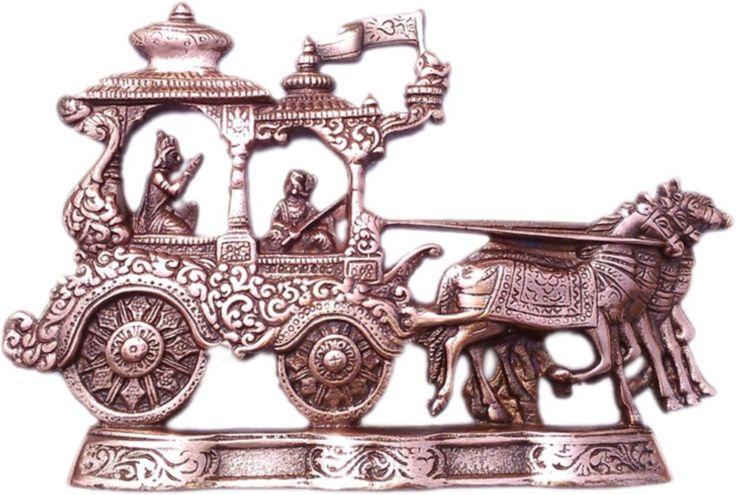 CraftSmith Metallic Lord Krishna Riding Arjun Rath Showpiece  -  21 cm