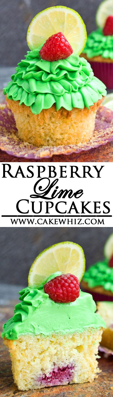 These soft and buttery RASPBERRY LIME CUPCAKES with zesty lime frosting are really easy to make! Each cupcake is also stuffed with a fresh raspberry! Perfect for Spring and Summer parties! {Ad} From cakewhiz.com