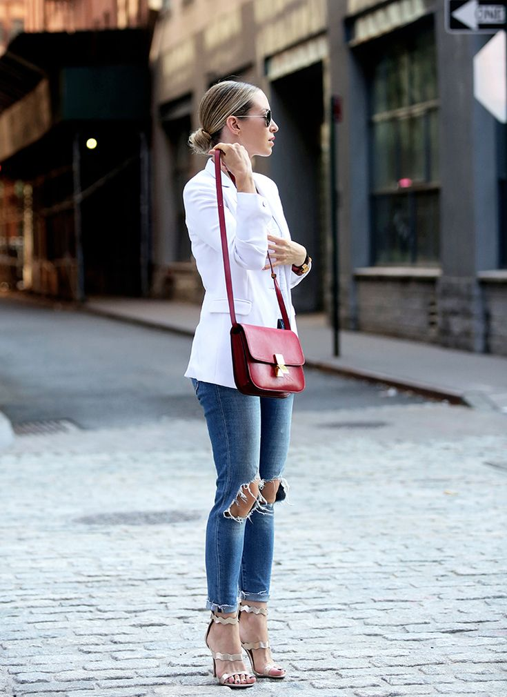 Best Shoes for Fall - Four Key Trends | Brooklyn Blonde - Outfit #4 Straps & Ties | Shoes ℅ of DSW | Blazer: Rag & Bone | Denim: Levis | Bag: Celine September 14, 2016