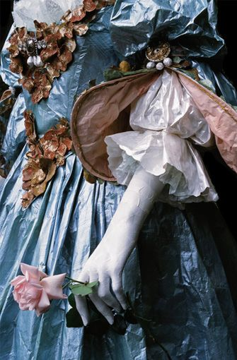'Detail of the Paper Dress of Queen Polyxene of Assie, in portrait painted by M. van Meytens' by Isabelle de Borchgrave, 2007.