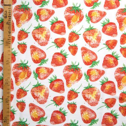 Digiprintti: Mansikat-jersey / Strawberries single jersey, digital print / Käpynen