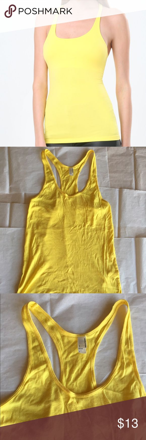 Solid Tank Top American Apparel racerback tank top in yellow. Can be worn alone or layering. Women's Size S. American Apparel Tops Tank Tops