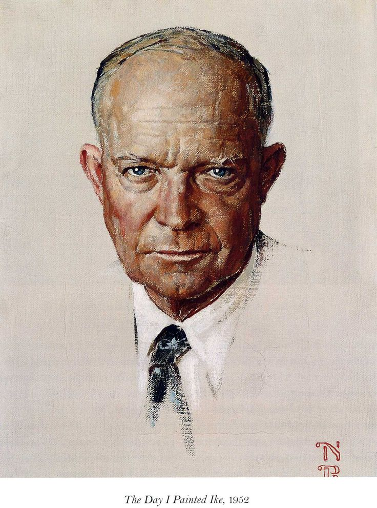 Rockwell was also privately commissioned to paint the portraits of four United States President; they were Dwight Eisenhower, John Kennedy, Lyndon Johnson and Richard Nixon. Description from theenchantedmanor.com. I searched for this on bing.com/images
