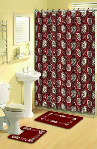 Home Dynamix 2958 200 Bath Boutique Poly Acrylic 15 Piece Bathroom Set Red Red Shower Curtains Curtains Shower Curtain Sets