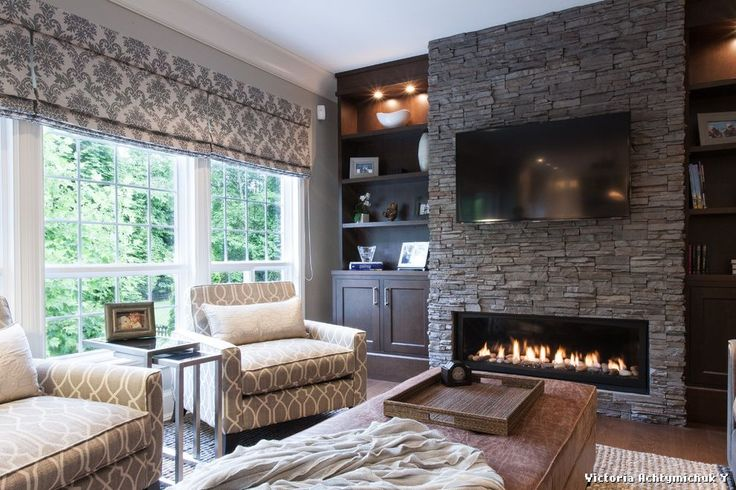Stackable Stone Fireplace with Built Ins on Each Side  for Traditional Family Room and Stacked Stone Fireplace