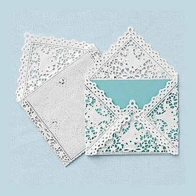doilie wrapped invitation - Bing Images @Bess MaierTasty Recipe, Lace, Diy Wedding Invitations, Lacy Envelopes, Paper Doilies, Tiffany Blue, Cute Ideas, Cards, Blue Wedding