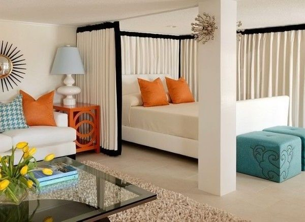two bedroom apartment decorating ideas with queen size mattress below orange throw pillows also linen curtain fabric on ceiling mount drapery track