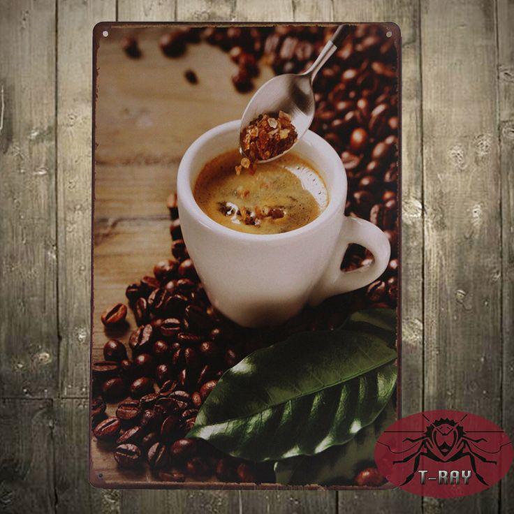 Кафе Капучино Свежий Горячий Кофе Металлический Знак. винтаж Кофейник, кухня Декор F-141