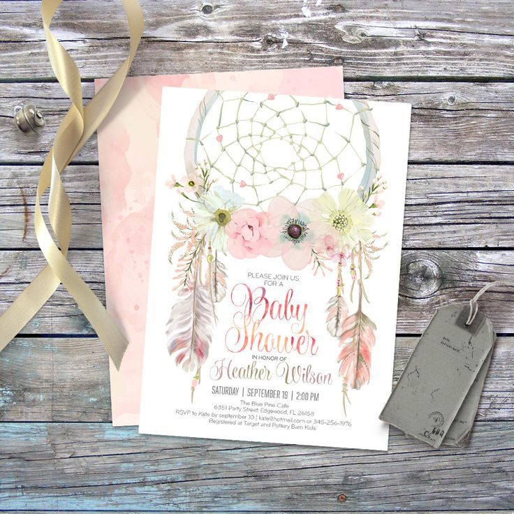 Dreamcatcher boho baby shower invitation. Digital printable files. Feathers, bohemian, watercolor, 5x7 card, baby girl. Customisable. 002CMP by CardaMoonPaperie on Etsy https://www.etsy.com/listing/247258336/dreamcatcher-boho-baby-shower-invitation