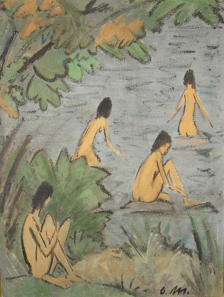 Otto Mueller (1874 - 1930) was een Duits schilder en lithograaf die deel uitmaakte van de expressionistische beweging. Zijn vroege werk is beïnvloed door het impressionisme, de Jugendstil en het symbolisme. Hij is vooral bekend vanwege zijn naakten en schilderijen van zigeunervrouwen.  Landschaft mit Badenden
