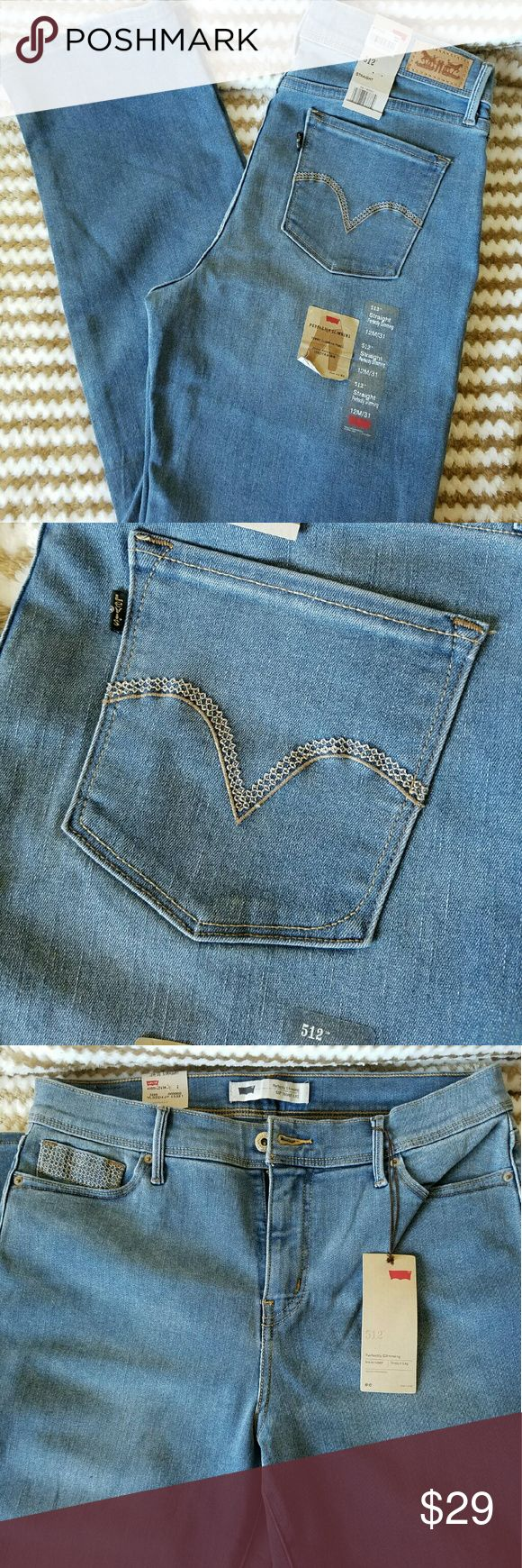 Levis 512 Straight Perfectly Slimming Jeans 12M/31 Levi's 512 straight perfectly slimming jeans in a light wash color. Tummy slimming panel, shape supporting stretch denim. Levi's Jeans Straight Leg