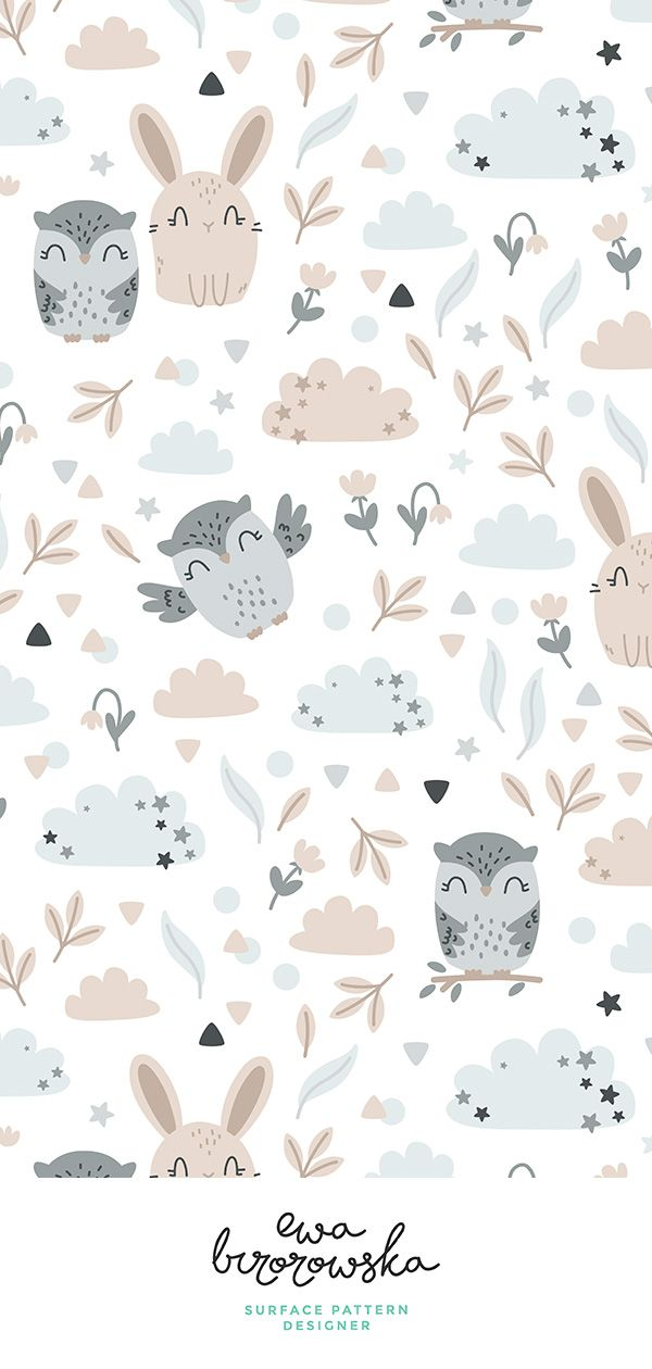 Colorful Fabrics Digitally Printed By Spoonflower Bunny And Owl Best Friends Beige Grey Cute Patterns Wallpaper Cute Wallpapers Pattern Wallpaper