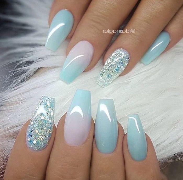 Blue Pink Ombre Nail Polish Long Coffin Nails Nail Ideas White Fur Blue Glitter Nail Polish In 2020 Glitter Accent Nails Best Acrylic Nails Ombre Nail Designs