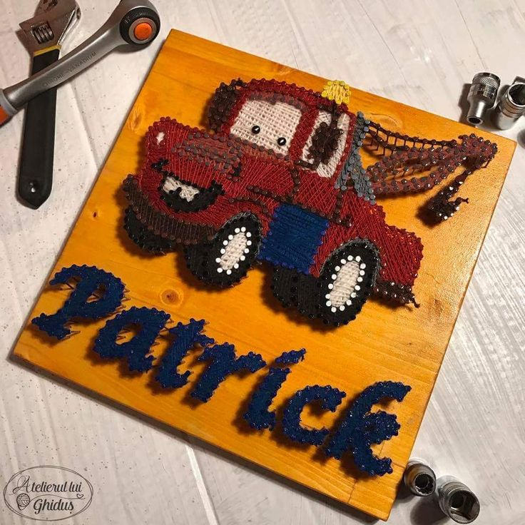 Cars, Mater string art / baby boy nursery decoration / Patrick string art  (fb: www.facebook.com/atelierulluighidus)