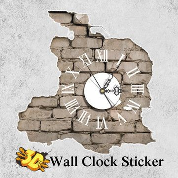Description: 3D Breaking Wall Art Clock Sticker, 3D effect, shocked and attractive Multifunction: clock, art, gift, DIY toy, decoration, defects covering. It will come with good packaging, can be a nice gift for friends.   Specification: Brand: PAG STICKER Pattern: Breaking Wall Material: PVC, Plastic, Electronic Movement Size: 392 x 380mm   Package Includes: 1 x 3D Wall Clock Sticker(Battery is not included)
