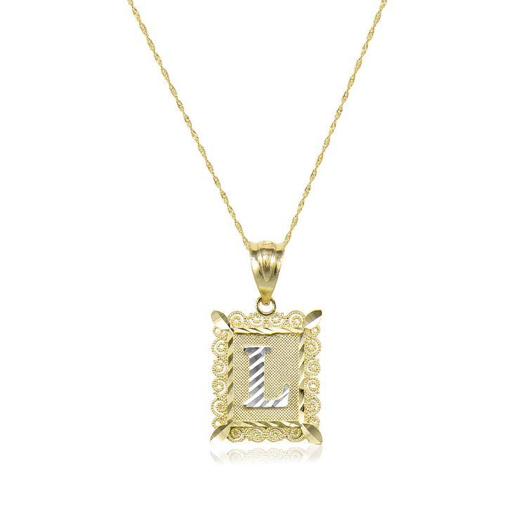 14k Solid Yellow White Gold Initial Letter Plate Necklace Pendant Singapore Chain Description Material Gold Letter Pendants Gold Initial White Gold Chains