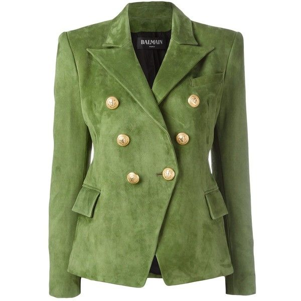 Balmain double breasted blazer (£1,800) ❤ liked on Polyvore featuring outerwear, jackets, blazers, blazer, balmain, suit, green, balmain jacket, green military jacket and peaked lapel blazer