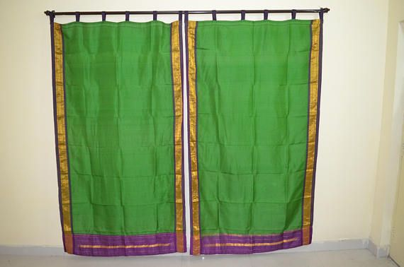 Green curtain Green saree Silk curtain Indian curtain sari Boho curtain gypsy purple curtain recycled fabric hippy vintage curtainSKCT13a
