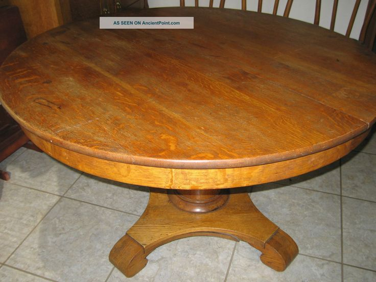 Round Oak Dining Table Part - 19: Antique Round Oak Dining Table. 75 Years Plus Old 1900-1950 Photo