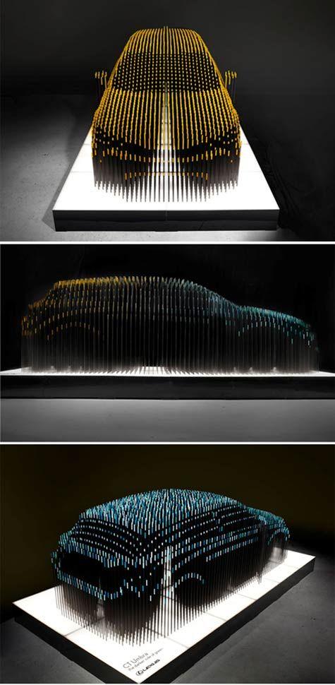 car sculpture fluctuates depending on viewpoint