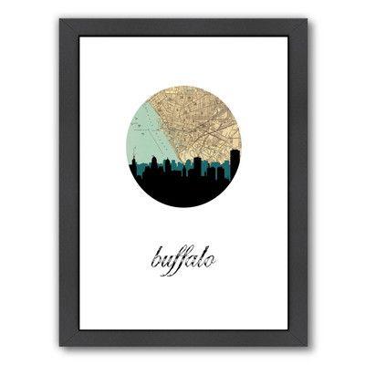 "East Urban Home Buffalo Map Skyline Framed Graphic Art Size: 16.5"" H x 13.5"" W x 1.5"" D"
