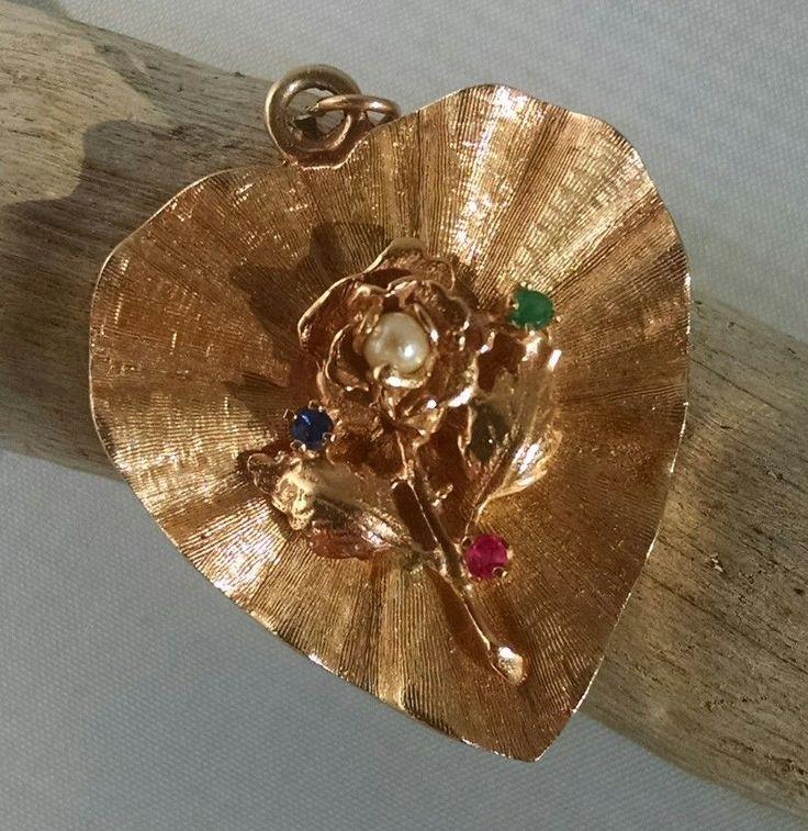 "Vintage 14K Yellow Gold Bracelet Charm Rose Heart Pearl Gemstone 14 gr 1 1/8"" MJ   Jewelry & Watches, Vintage & Antique Jewelry, Fine   eBay!"