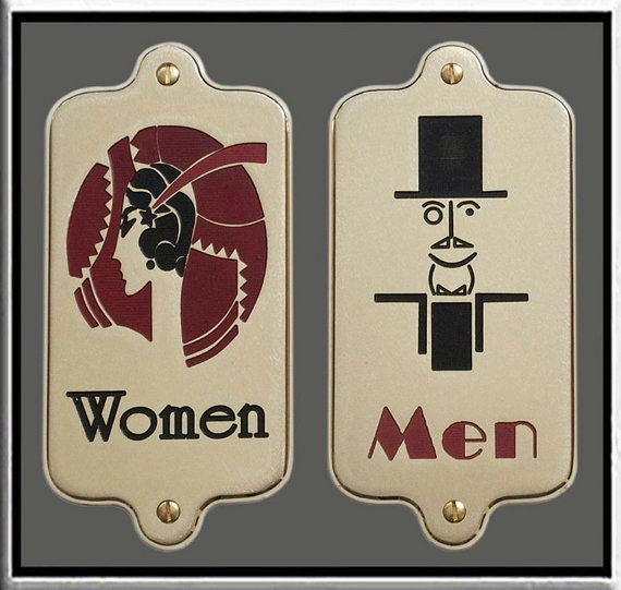 brass engraved signs pair of men women art deco restroom bathroom toilet sign plate