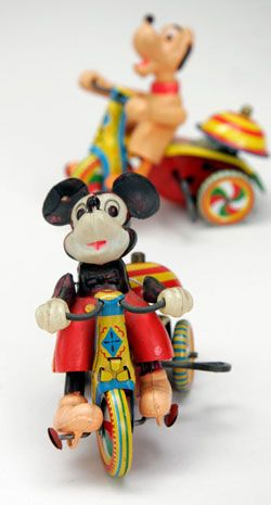 Mickey Mouse Tin Wind Up Linemar Antique Toy Pluto Wind up
