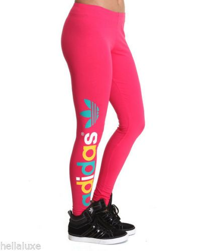 def0eb49bce888 nw~Adidas MULTICOLORED TREFOIL LEGGINGS Tight Yoga Running Pant workout~ Women XS